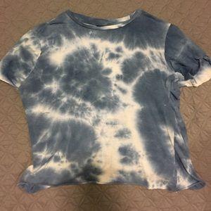 blue cropped tie-dye shirt! barley worn!